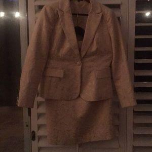 Vintage Premise Gold Brocade Skirt Suit Size 6